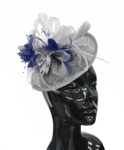 Caprilite Grey Silver and Navy Blue Sinamay Disc Saucer Fascinator Hat for Women Weddings Headband