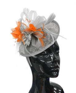 Caprilite Grey Silver and Orange Sinamay Disc Saucer Fascinator Hat for Women Weddings Headband