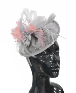 Caprilite Grey Silver and Peach Sinamay Disc Saucer Fascinator Hat for Women Weddings Headband