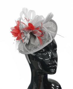 Caprilite Grey Silver and Red Sinamay Disc Saucer Fascinator Hat for Women Weddings Headband