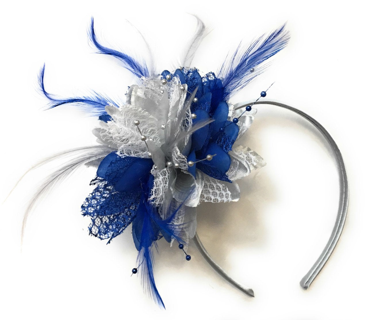 Caprilite Silver and Royal Blue Fascinator on Headband Alice Band Wedding Party Ascot Races