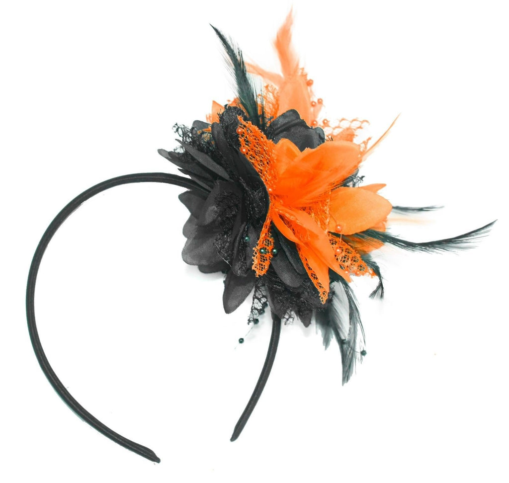 Caprilite Black and Orange Fascinator on Headband Hair Band Flower Corsage