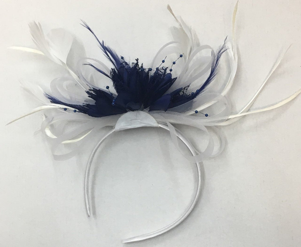 Caprilite White and Navy Blue Fascinator on Headband for Weddings Ascot Derby
