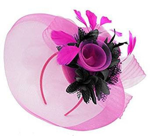 Caprilite Big Fuchsia Hot Pink Fascinator Hat Veil Net and Black Hair Clip Ascot Derby Races Wedding Headband Feather Flower