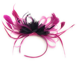 Caprilite Fuchsia Hot Pink and Purple Wedding Fascinator Headband  Alice Band Ascot Races Loop Net