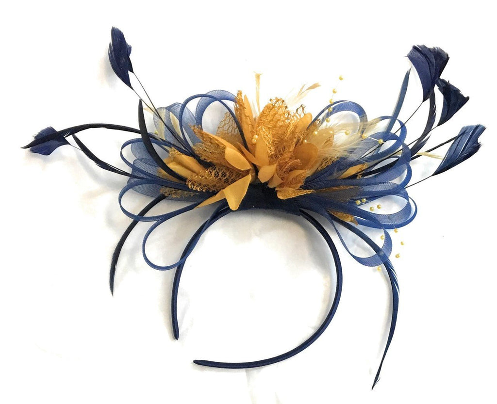 Caprilite Navy Blue and Mustard Yellow Fascinator on Headband Alice Band UK Wedding Ascot Races Derby