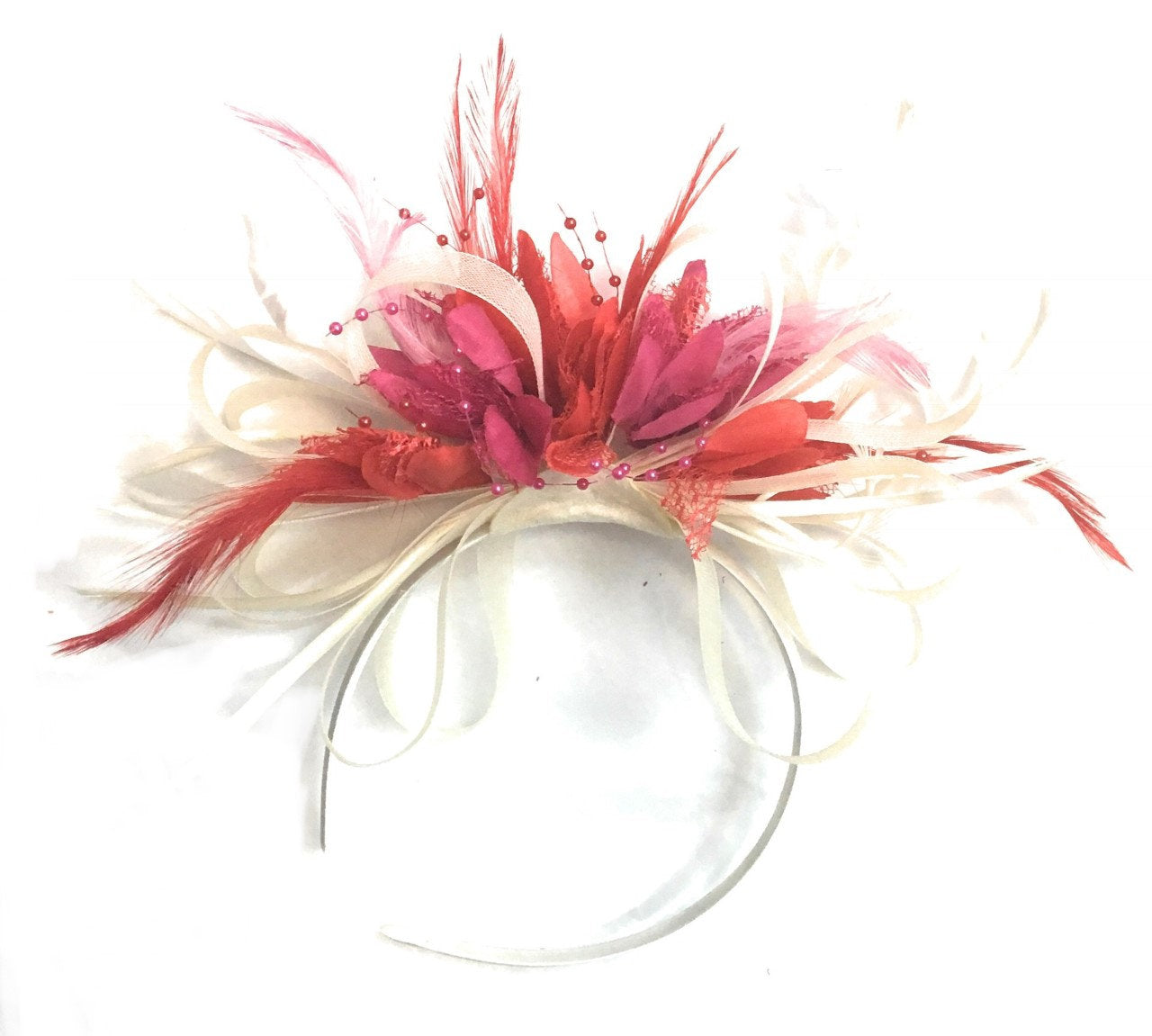 Caprilite Cream Scarlet Red and Fuchsia Pink Hoop Feathers Fascinator On Headband for Weddings and Ascot Races
