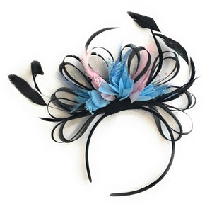 Caprilite Black, Baby Blue and Baby Pink Feathers Fascinator Headband Wedding Ascot Derby