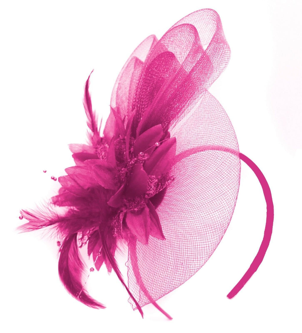 Caprilite Fuchsia Hot Pink Flower Veil Feathers Fascinator On Headband Wedding