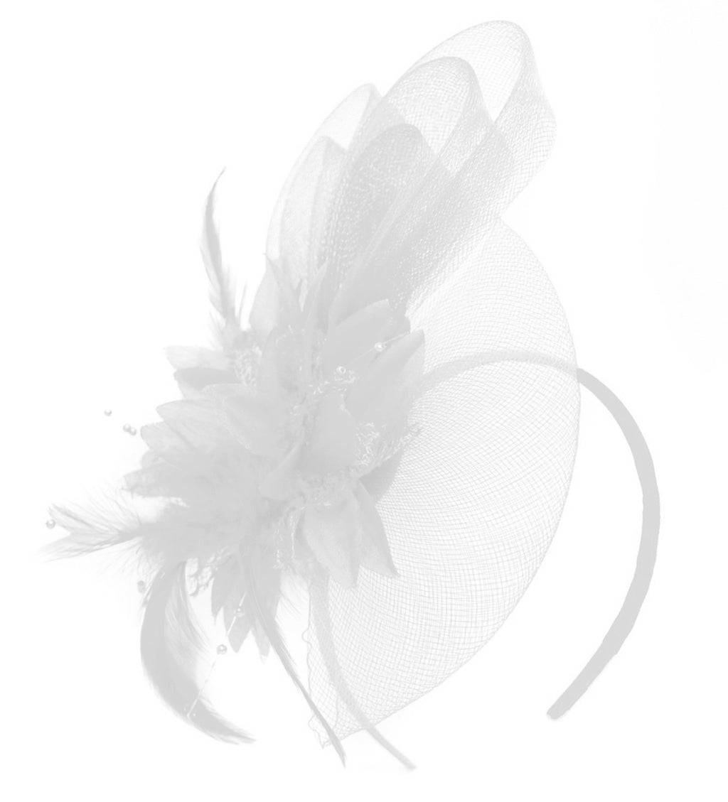 Caprilite White Flower Veil Feathers Fascinator On Headband Wedding