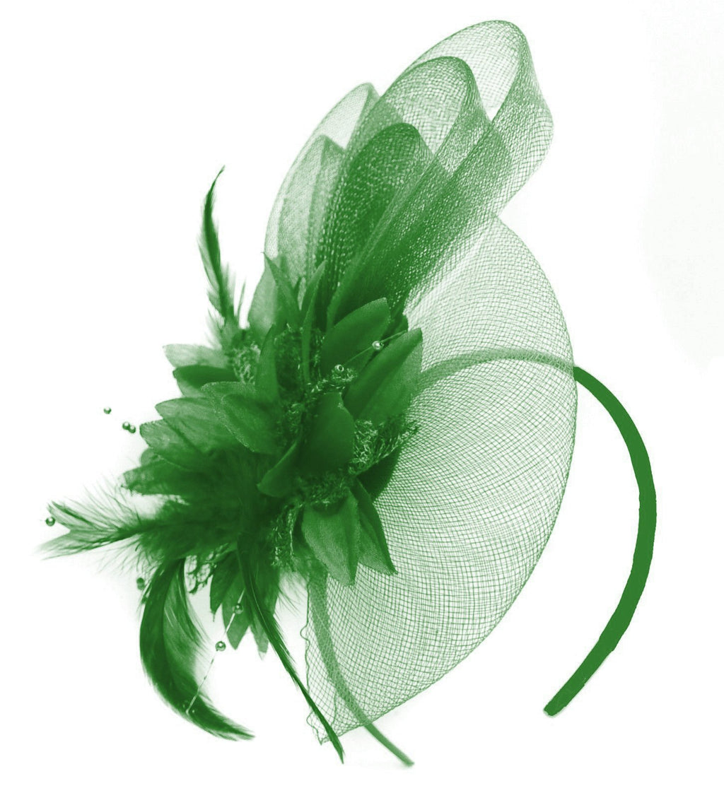 Caprilite Jade Emerald Green Flower Veil Feathers Fascinator On Headband Wedding