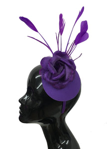 Caprilite Cadbury Purple Feathers Pillbox Fascinator Disc Saucer on Headband Ascot Wedding