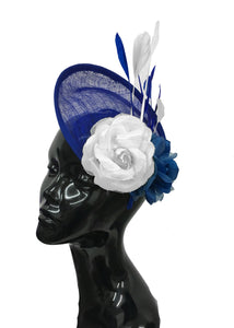 Caprilite Sinamay Rose Blue and White Disc Saucer Hatinator Fascinator On Headband Wedding