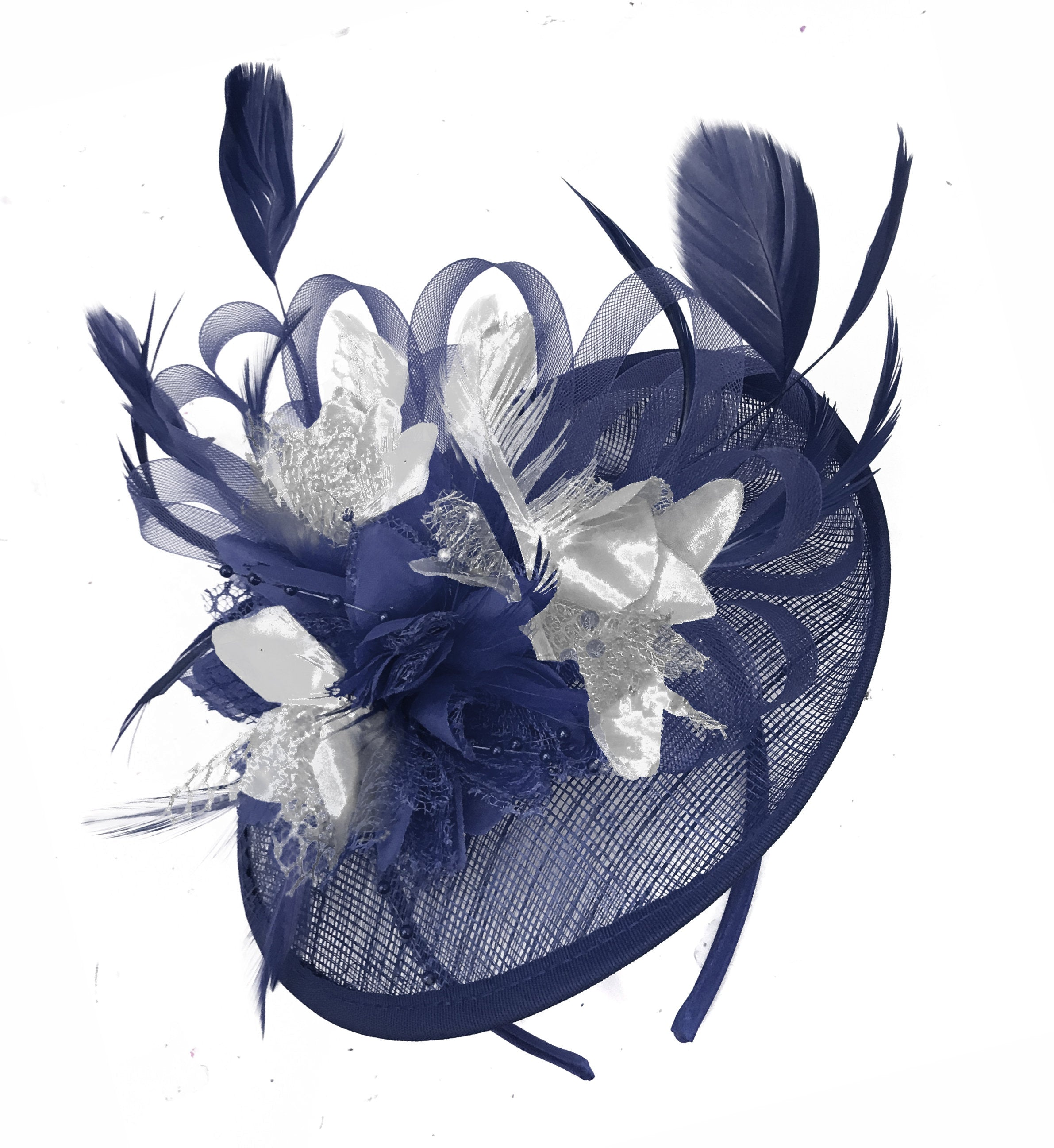 Caprilite Sinamay Navy Blue and Silver Disc Saucer Fascinator Hat for Women Weddings Headband