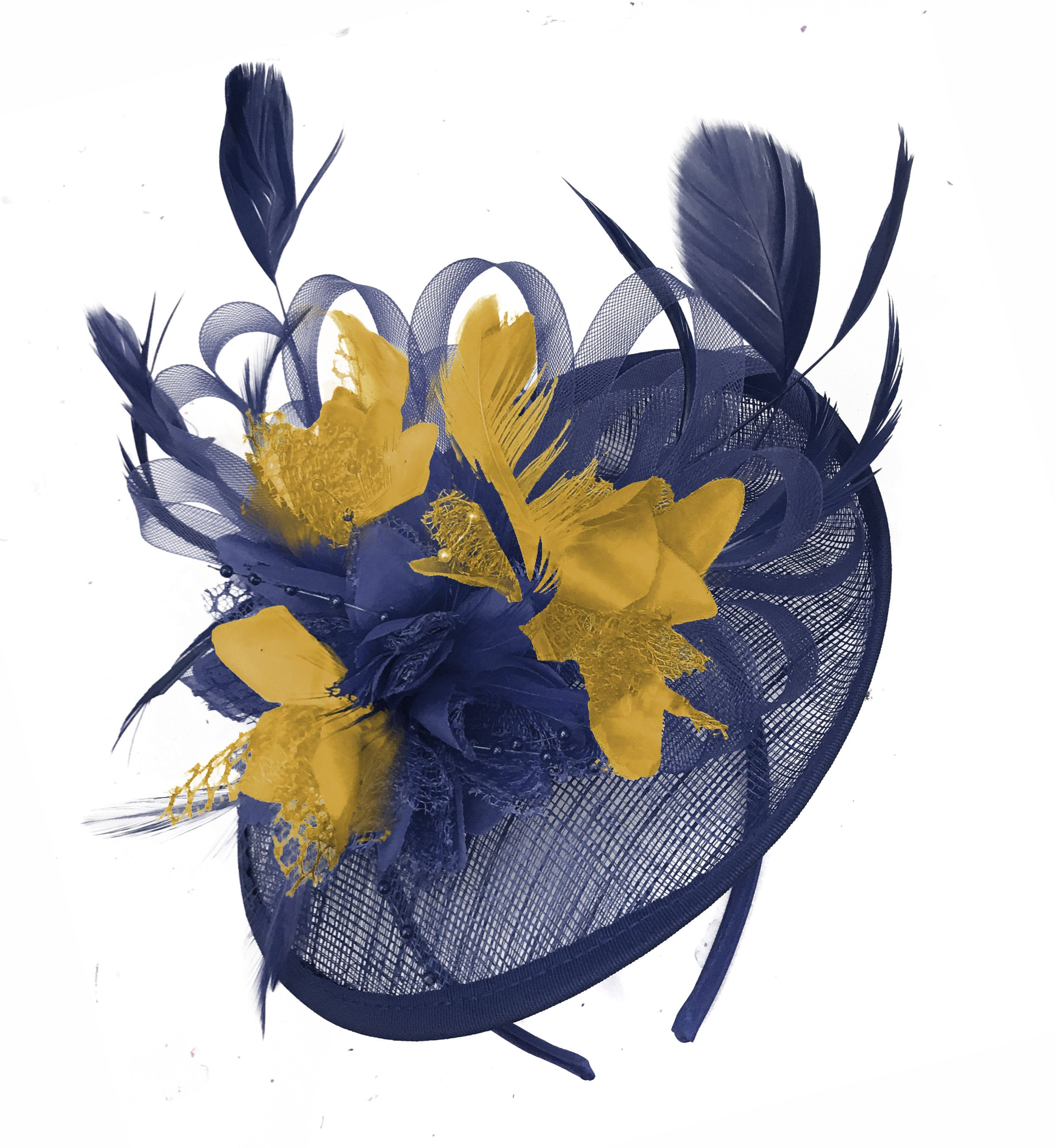 Caprilite Sinamay Navy Blue and Mustard Yellow Disc Saucer Fascinator Hat for Women Weddings Headband