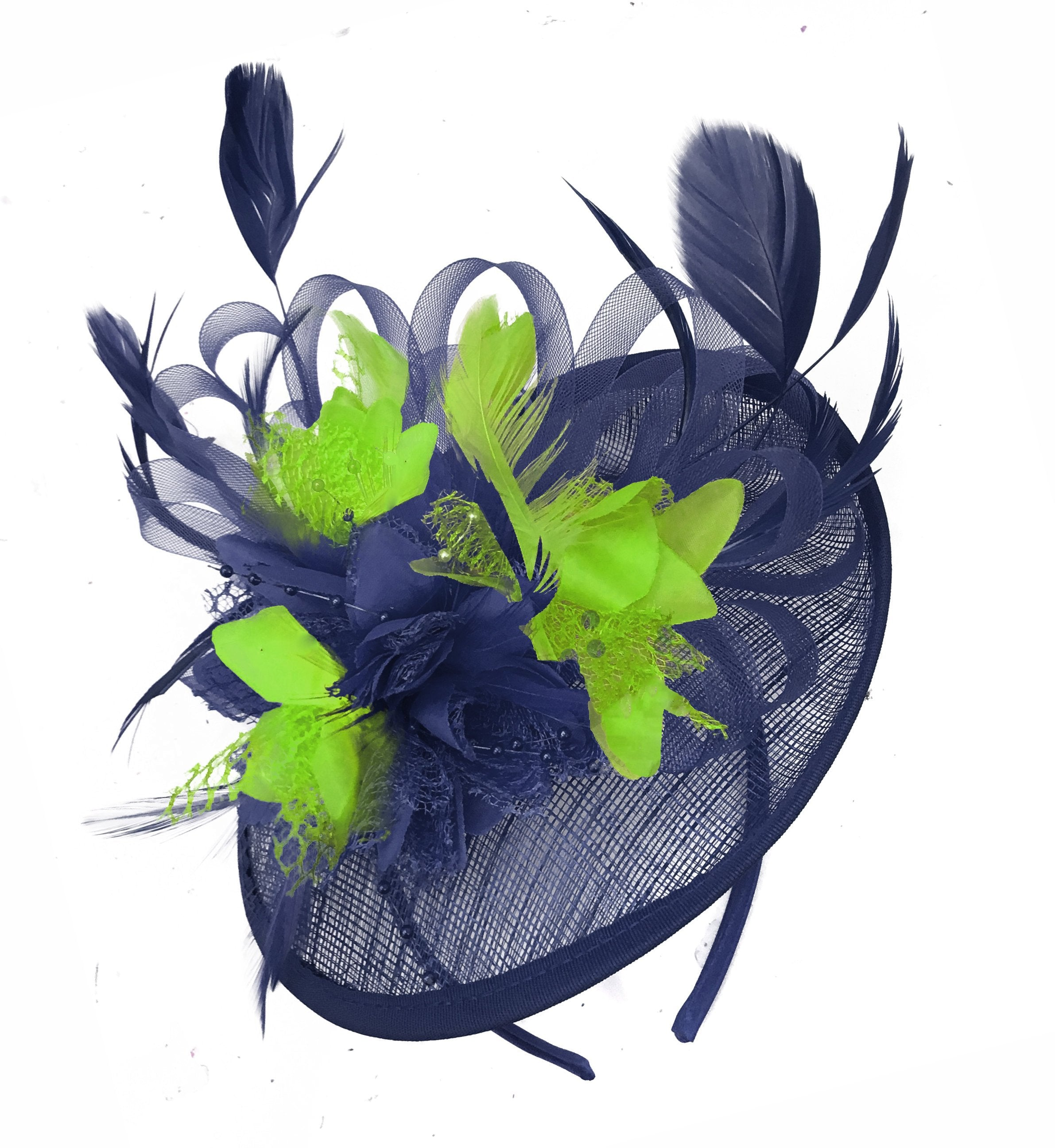 Caprilite Sinamay Navy Blue and Lime Apple Green Disc Saucer Fascinator Hat for Women Weddings Headband