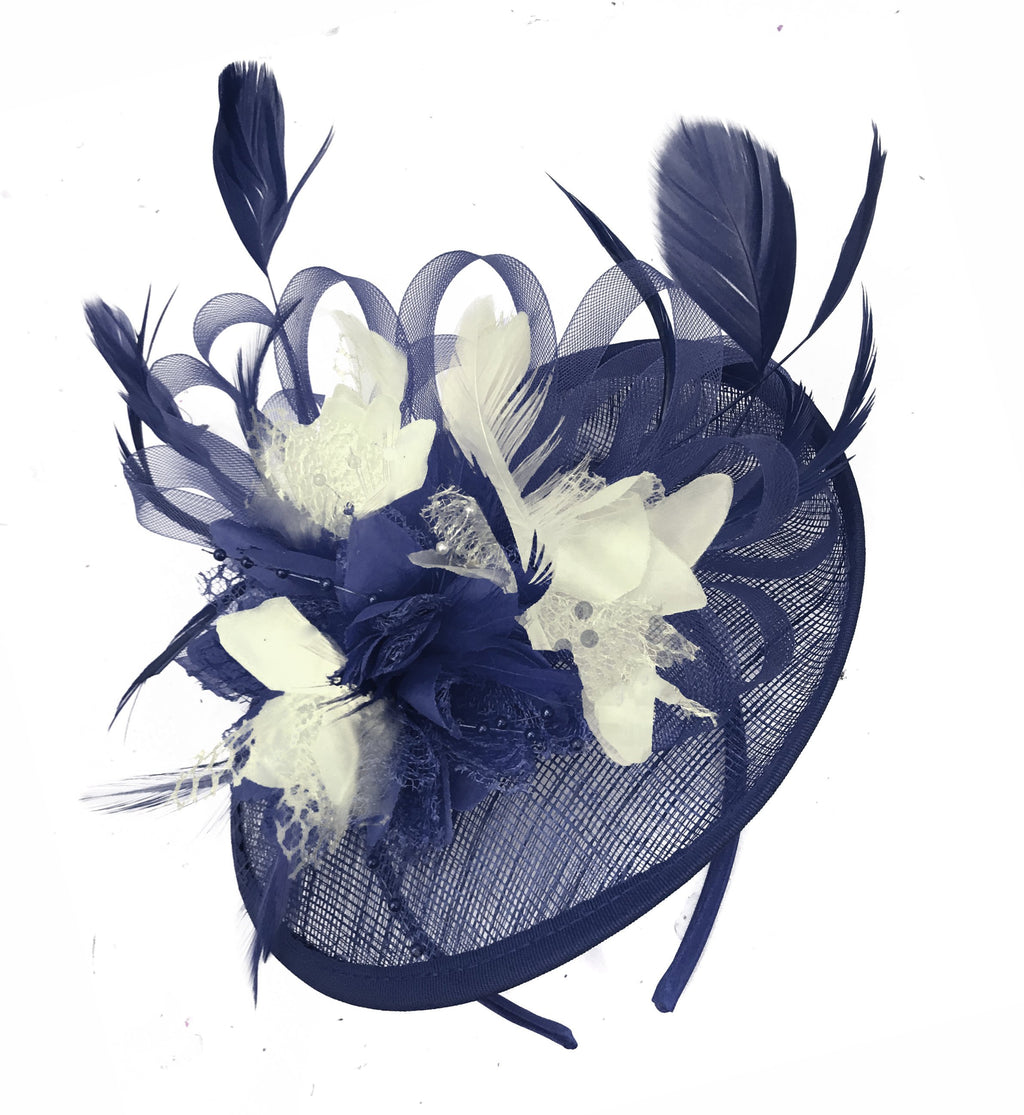 Caprilite Sinamay Navy Blue and Cream Ivory Disc Saucer Fascinator Hat for Women Weddings Headband