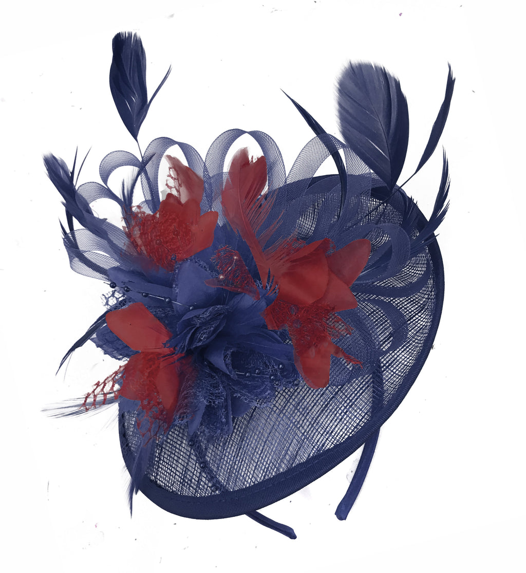 Caprilite Sinamay Navy Blue and Burgundy Disc Saucer Fascinator Hat for Women Weddings Headband