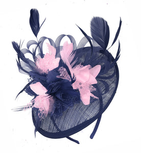 Caprilite Sinamay Navy Blue and Baby Pink Disc Saucer Fascinator Hat for Women Weddings Headband
