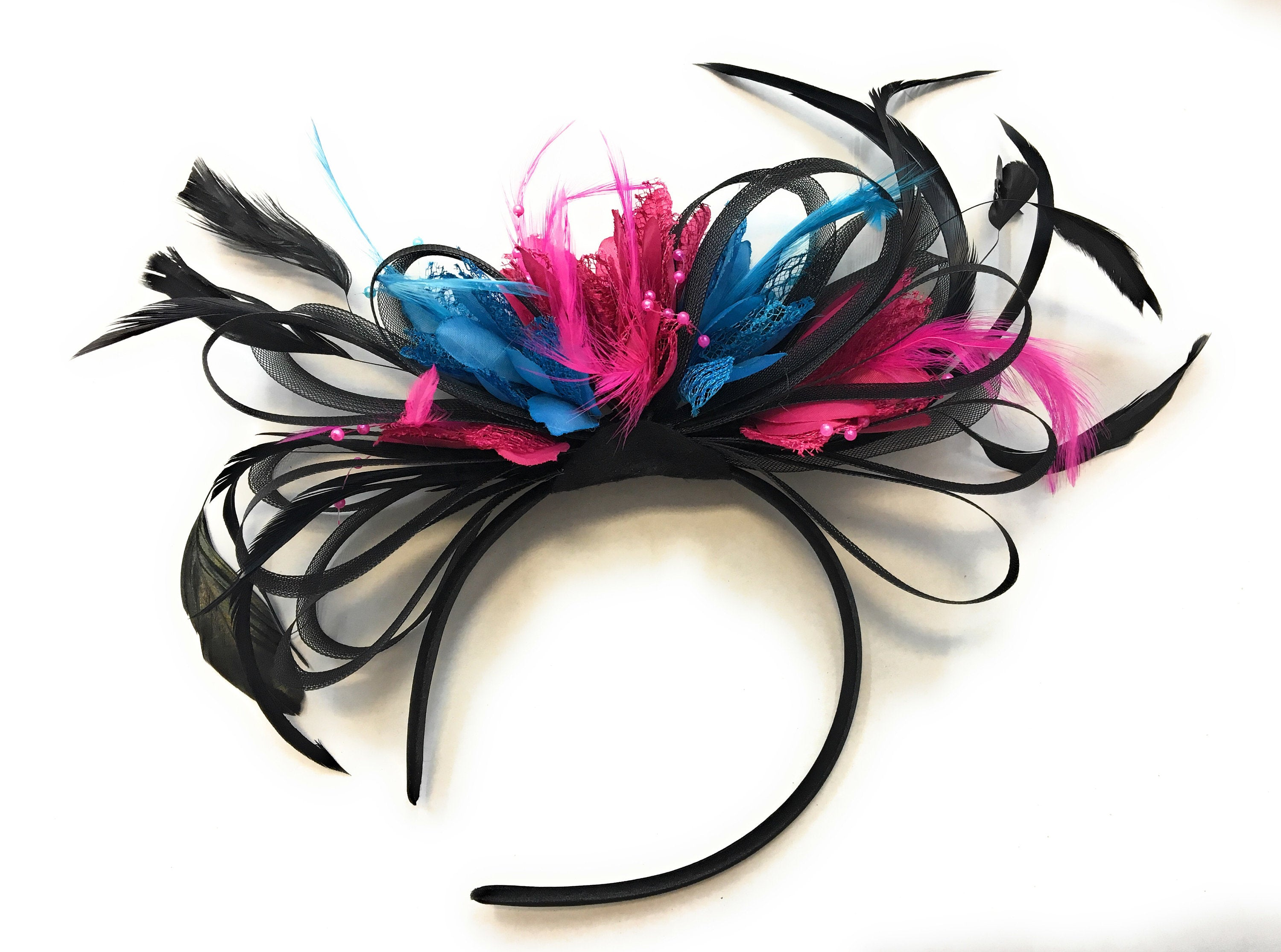 Caprilite Black, Fuchsia Pink and Aqua Blue Feathers Fascinator Headband Wedding Ascot Derby