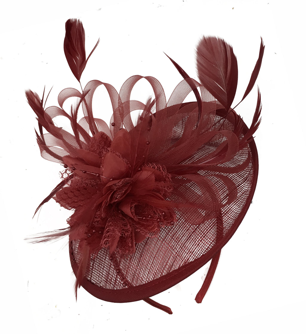 Caprilite Disc Saucer Sinamay Burgundy Fascinator on Headband Alice Band Wedding Ascot Races