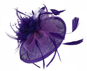 Caprilite Disc Saucer Sinamay Purple Fascinator on Headband Alice Band Wedding Ascot Races