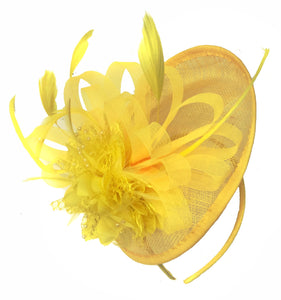 Caprilite Disc Saucer Sinamay Yellow Fascinator on Headband Alice Band Wedding Ascot Races