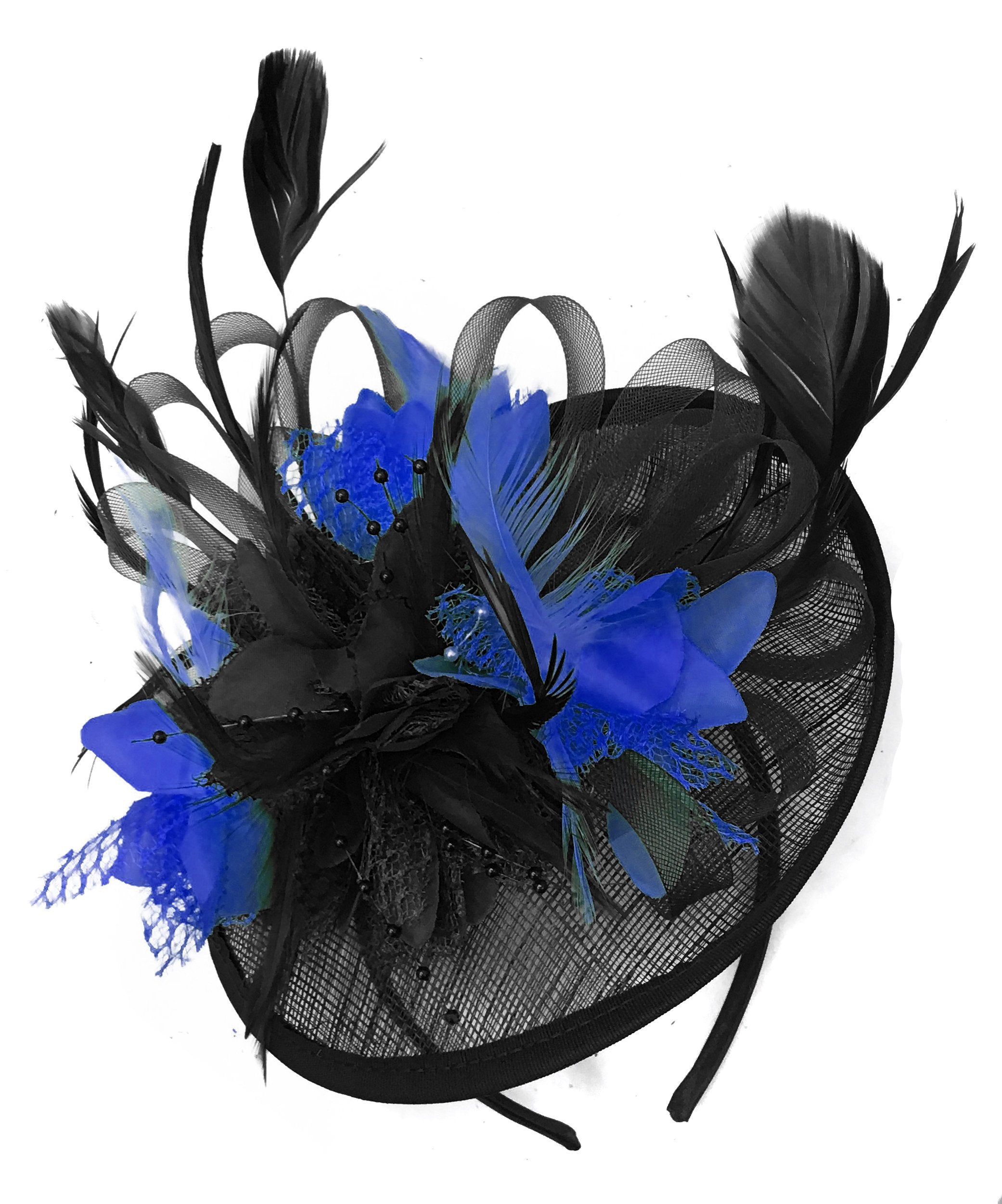 Caprilite Black and Royal Blue Sinamay Disc Saucer Fascinator Hat for Women Weddings Headband
