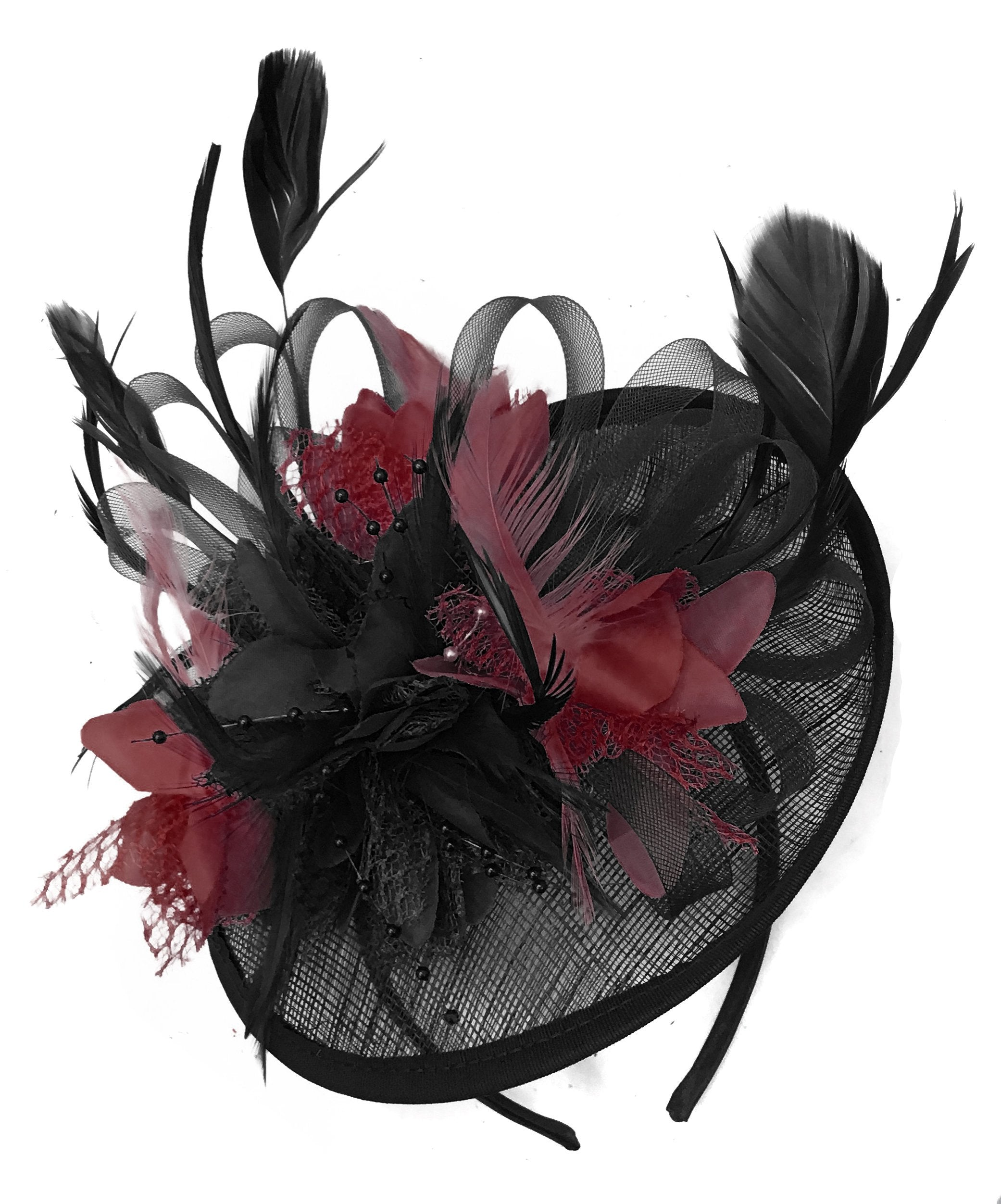 Caprilite Black and Burgundy Sinamay Disc Saucer Fascinator Hat for Women Weddings Headband