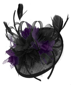 Caprilite Black and Dark Purple Sinamay Disc Saucer Fascinator Hat for Women Weddings Headband