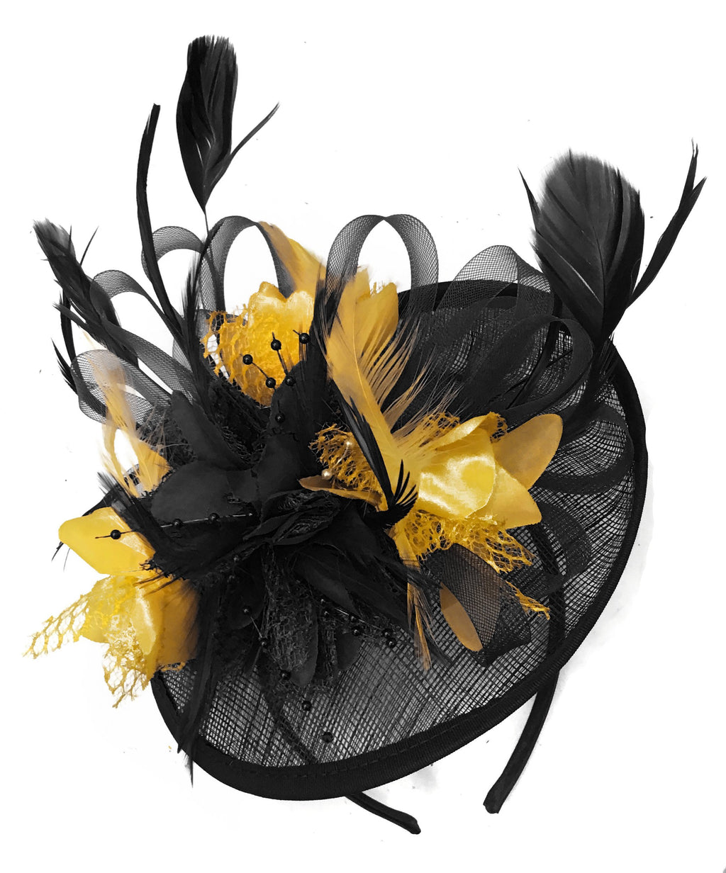 Caprilite Black and Gold Sinamay Disc Saucer Fascinator Hat for Women Weddings Headband