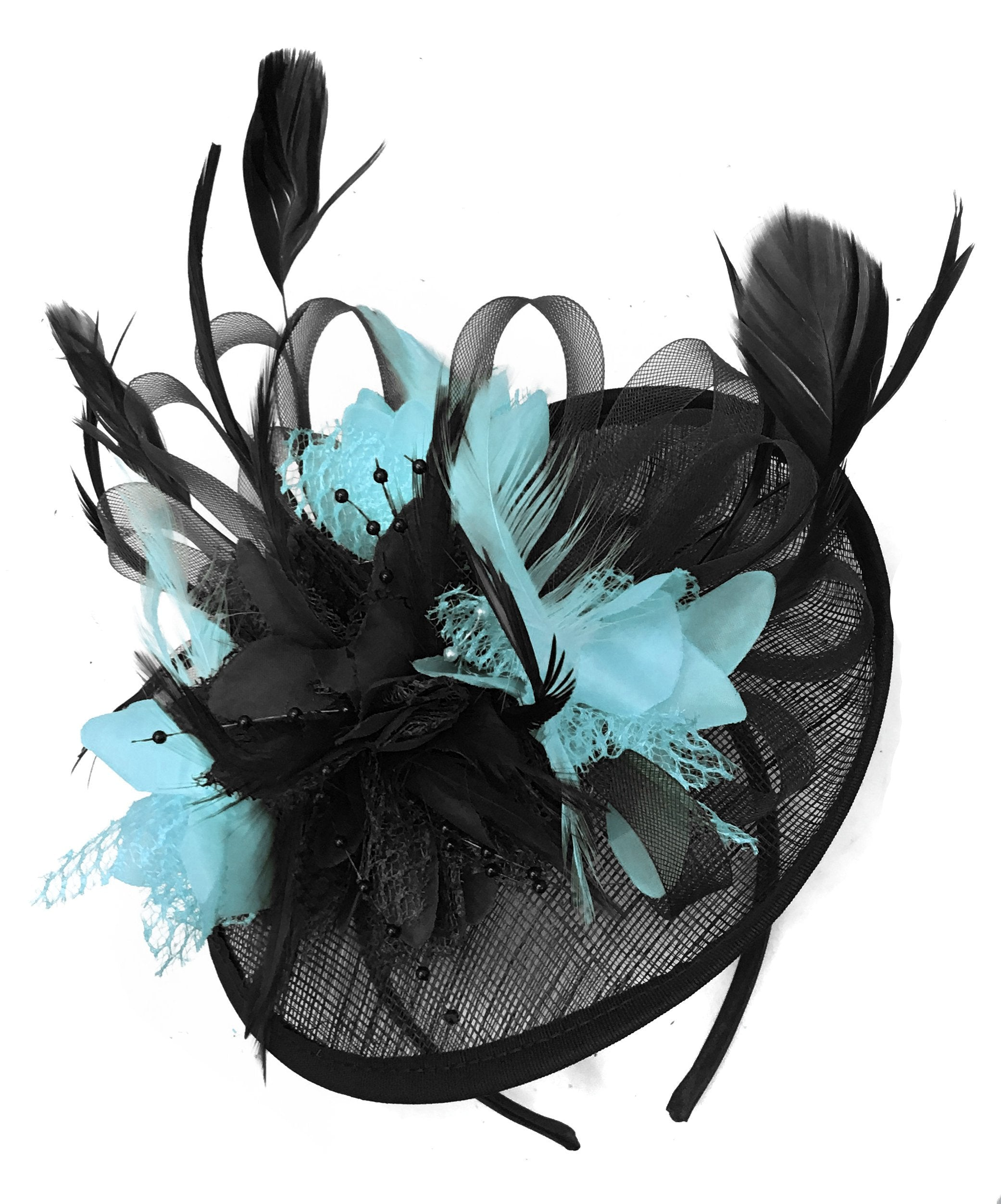 Caprilite Black and Light Turquoise Sinamay Disc Saucer Fascinator Hat for Women Weddings Headband