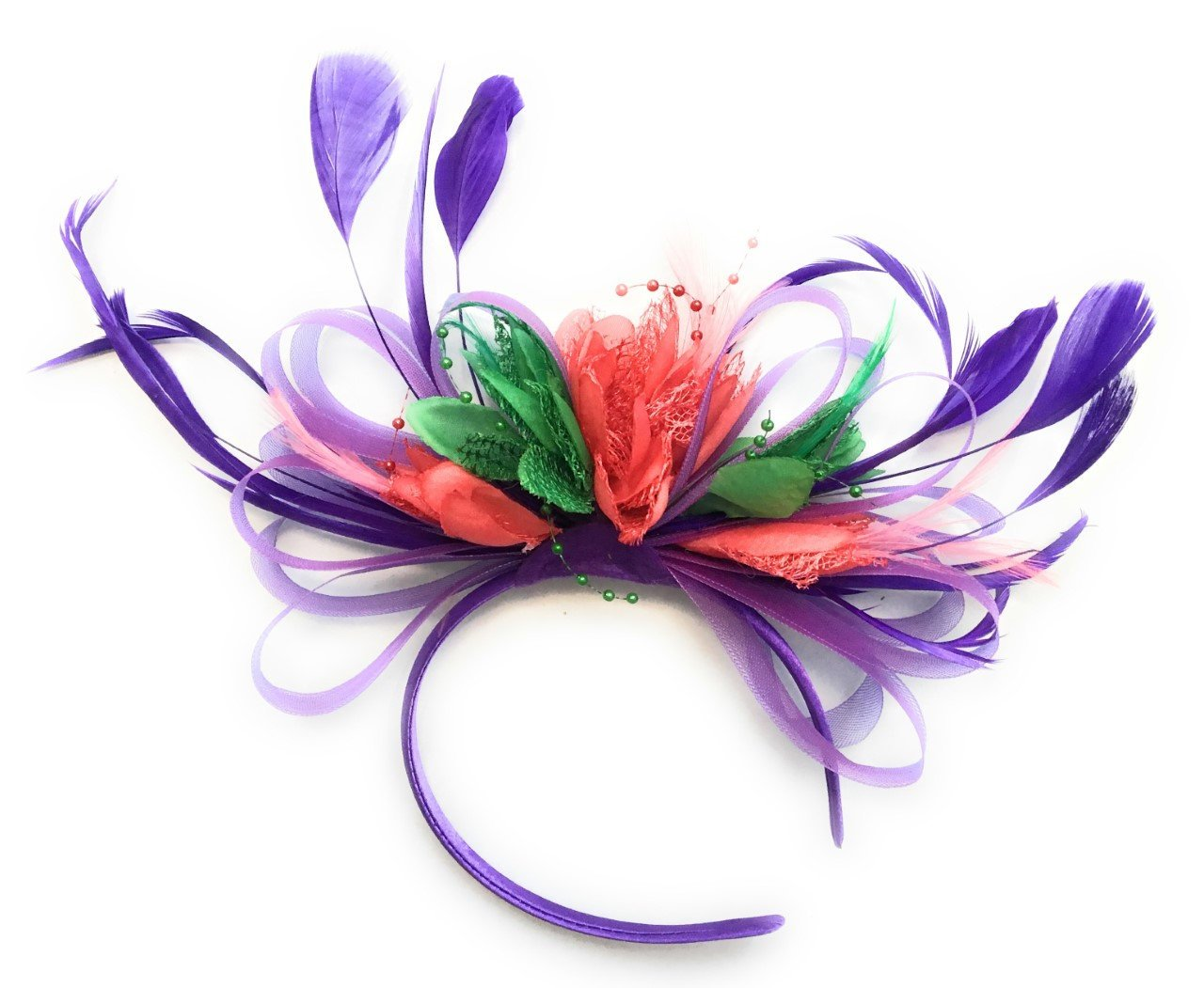 Caprilite Cadbury Purple, Coral Pink and Jade Grass Green Feathers Fascinator Headband Wedding Ascot Derby