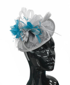 Caprilite Grey Silver and Aqua Sinamay Disc Saucer Fascinator Hat for Women Weddings Headband