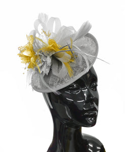 Caprilite Grey Silver and Gold Sinamay Disc Saucer Fascinator Hat for Women Weddings Headband