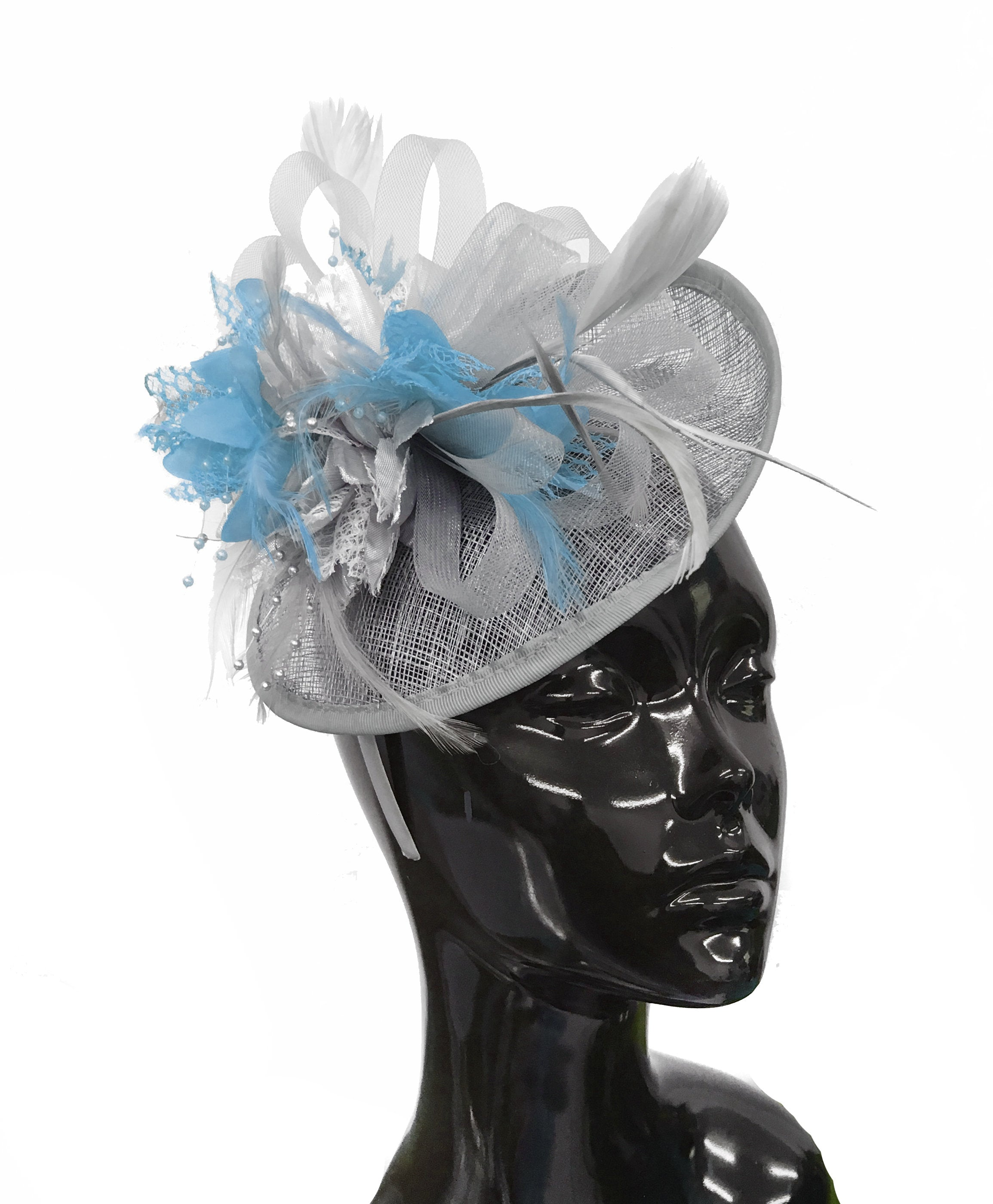 Caprilite Grey Silver and Light Blue Sinamay Disc Saucer Fascinator Hat for Women Weddings Headband