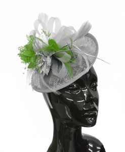 Caprilite Grey Silver and Lime Sinamay Disc Saucer Fascinator Hat for Women Weddings Headband