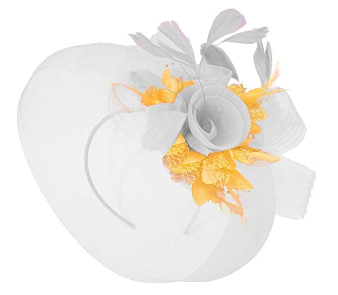 Caprilite White and Gold Fascinator Hat Veil Net Ascot Derby Races Wedding Headband Feather