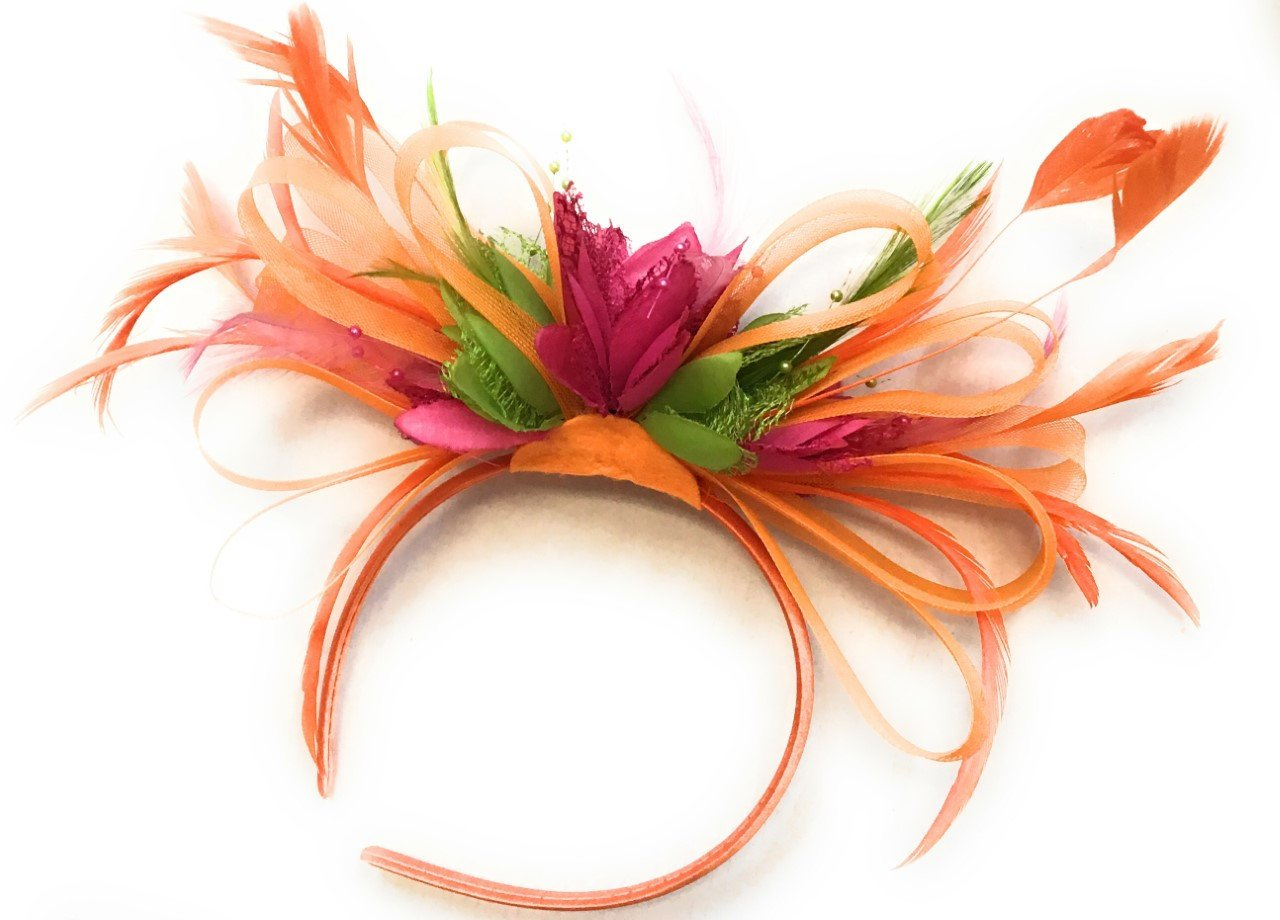 Caprilite Orange, Fuchsia Pink & Lime Green Feathers Fascinator on Headband