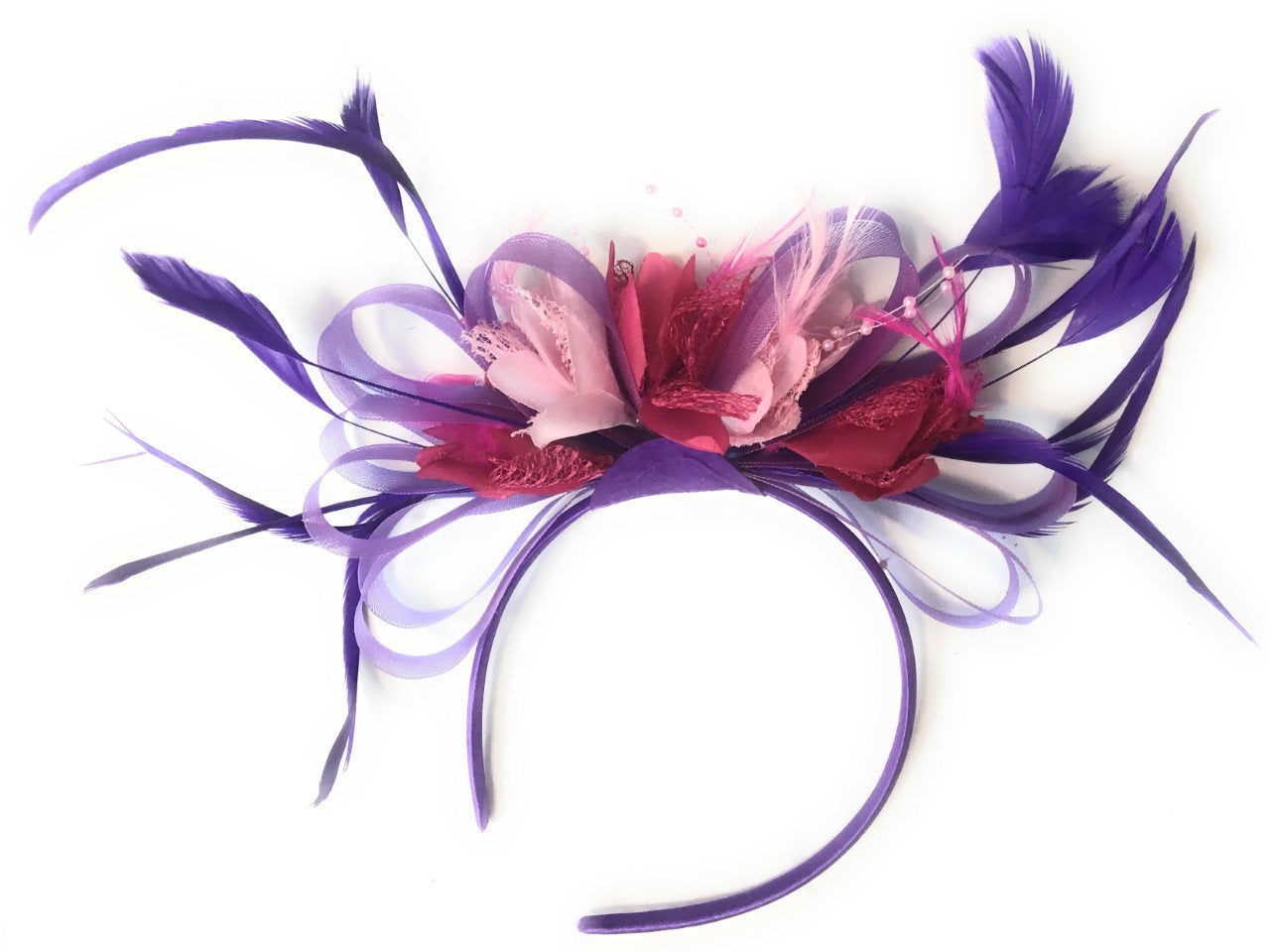 Caprilite Cadbury Purple, Fuchsia Hot Pink and Baby Pink Hoop & Navy Blue Fascinator On Headband