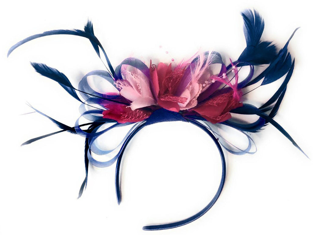 Caprilite Navy, Fuchsia Hot Pink and Baby Pink Hoop & Navy Blue Fascinator On Headband