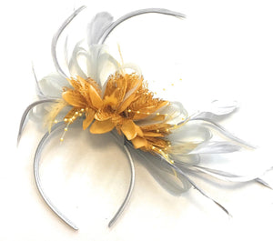 Caprilite Silver Grey and Mustard Yellow Feathers Fascinator Headband Wedding Ascot Derby