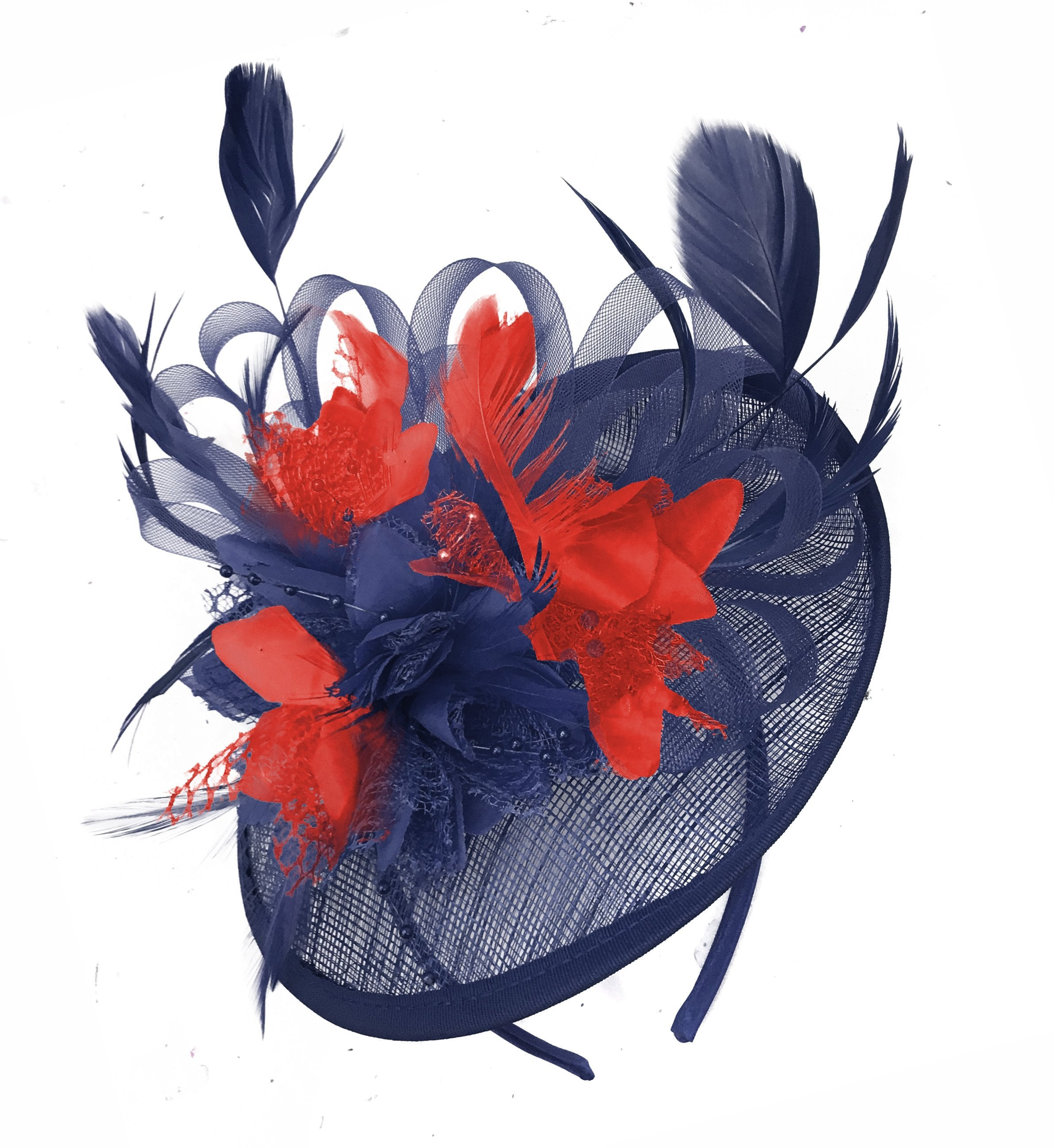 Caprilite Sinamay Navy Blue and Red Disc Saucer Fascinator Hat for Women Weddings Headband
