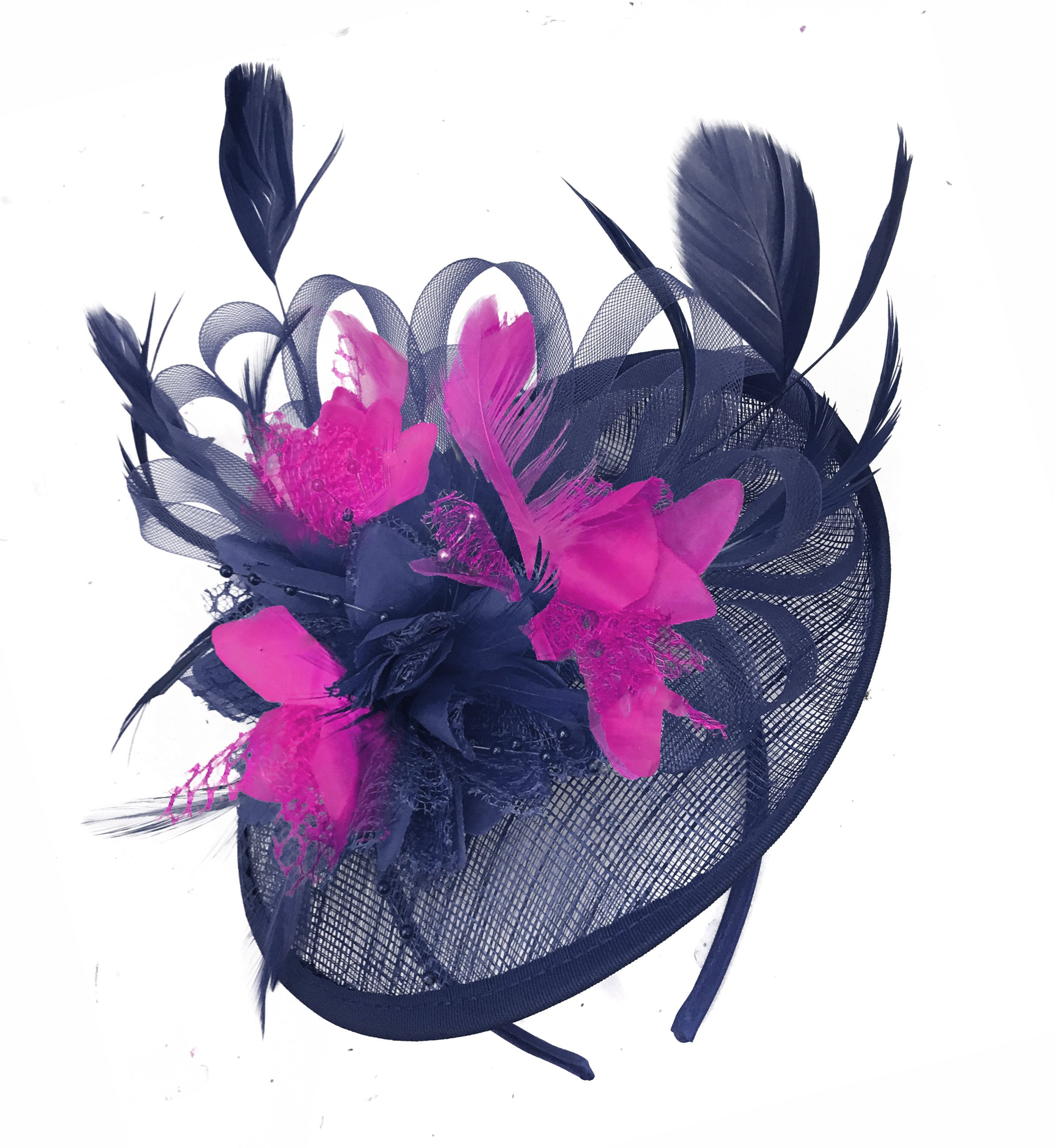 Caprilite Sinamay Navy Blue and Fuchsia Hot Pink Disc Saucer Fascinator Hat for Women Weddings Headband