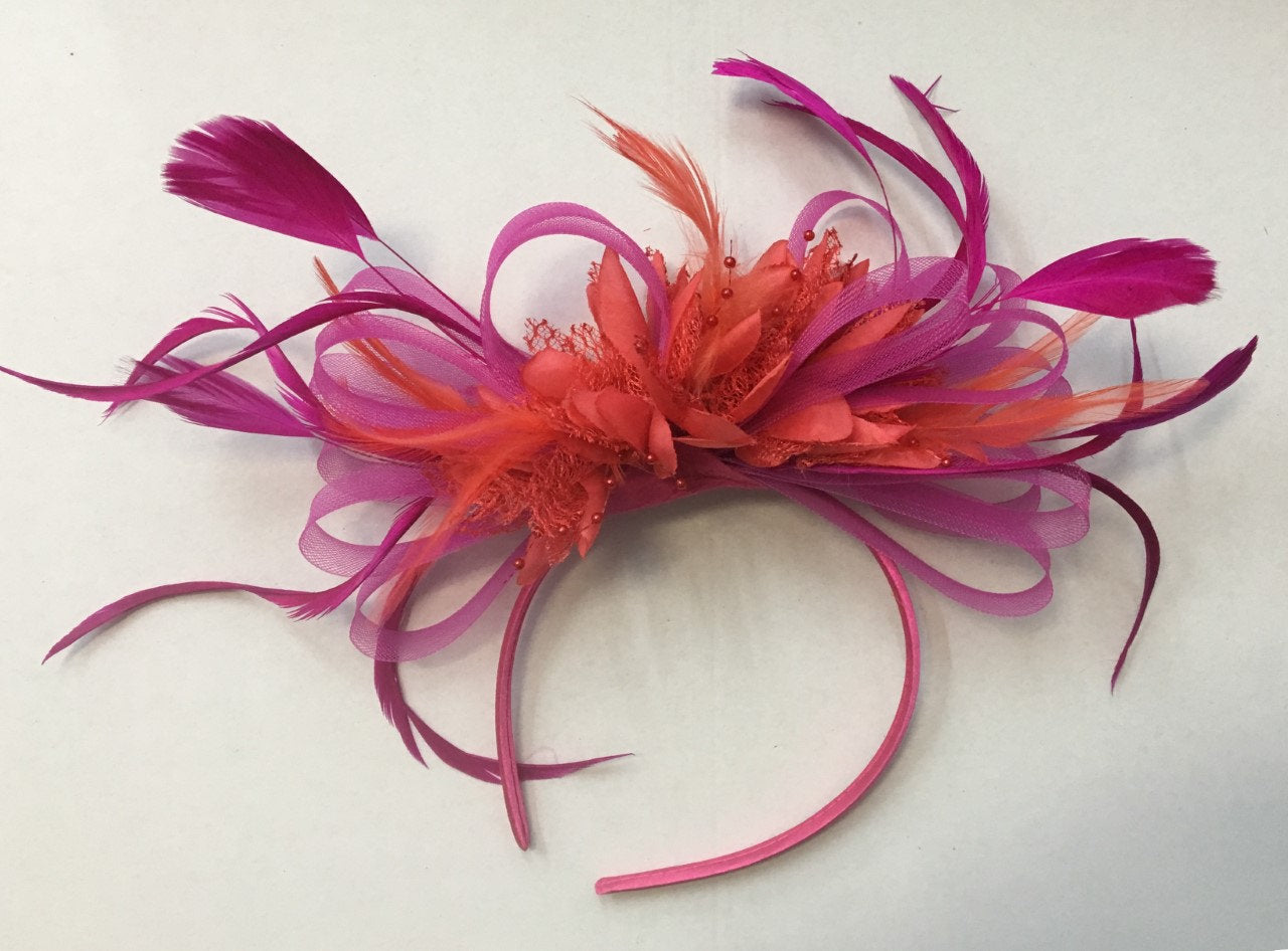 Caprilite Hot Pink Fuchsia and Dark Coral Blood Orange Fascinator on Headband Alice Band UK Wedding Ascot Races Derby