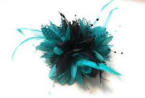 Caprilite Black and Aqua Turquoise Green Fascinator Flower Corsage on Clip Pin and Bobble