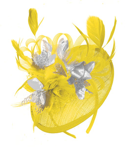 Caprilite Yellow and Silver Sinamay Disc Saucer Fascinator Hat for Women Weddings Headband