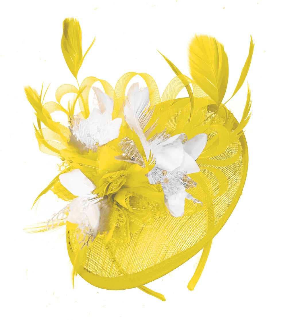 Caprilite Yellow and White Sinamay Disc Saucer Fascinator Hat for Women Weddings Headband