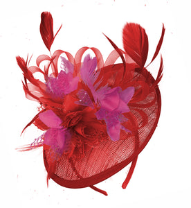 Caprilite Red and Fuchsia Sinamay Disc Saucer Fascinator Hat for Women Weddings Headband