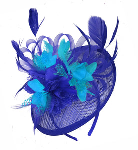 Caprilite Blue and Aqua Sinamay Disc Saucer Fascinator Hat for Women Weddings Headband